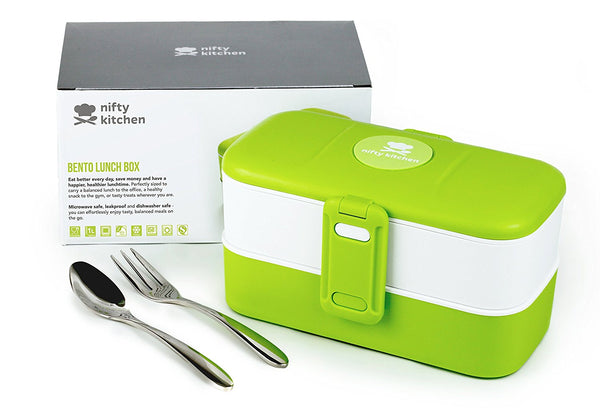 Bento Lunch Box by Nifty Kitchen - Two Section Lunchbox with Cutlery