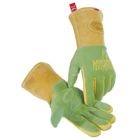 Green Deerskin Welding Gloves, Heavy Insulation - 1816 - Caiman