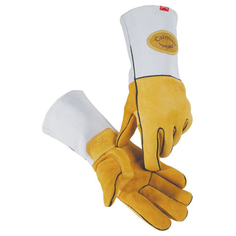 Gold American Elkskin Welding Gloves, Heavy Duty - 1858 - Caiman