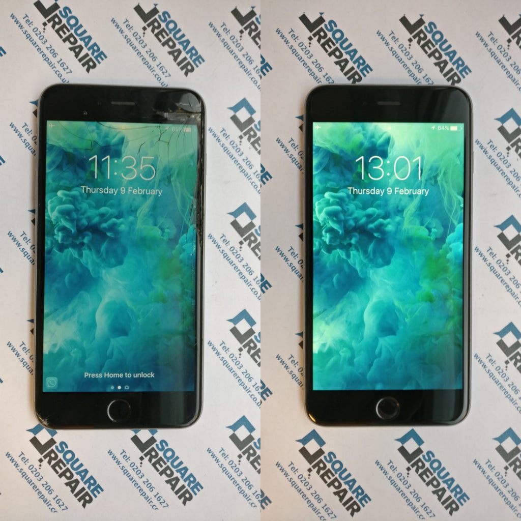 Aqua wallpaper smashed screen iPhone 6s repair in london