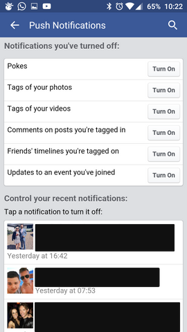 how to turn off facebook notifications android