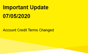 Important Update - Account Credit Term Changes