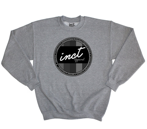 Black and White Coloured Logo Grey Sweater - Inct Apparel