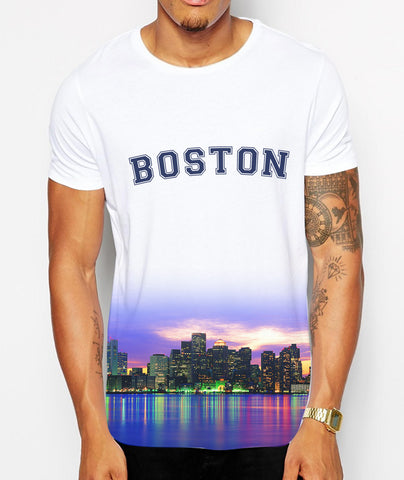 Distinkt Youth Boston Skyline Crew Neck Tshirt - Inct Apparel