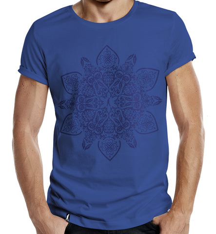 Distinkt Youth BLUE Floral Mandala Symbol T shirt - Inct Apparel