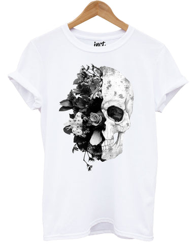 Half Flower Skull White T Shirt - Inct Apparel