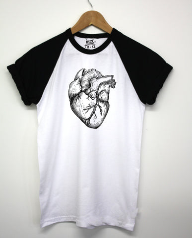 Heart Organ Black Baseball T Shirt - Inct Apparel