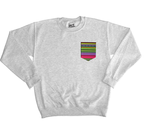 Hippy Pattern Pocket Sweater - Inct Apparel - 1