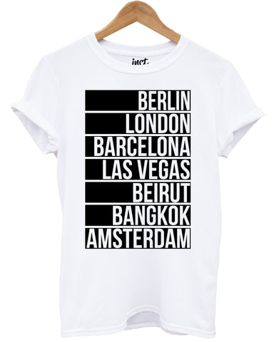 Party Cities White T Shirt - Inct Apparel