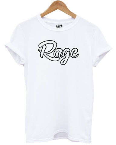 Rage Outline White T Shirt - Inct Apparel