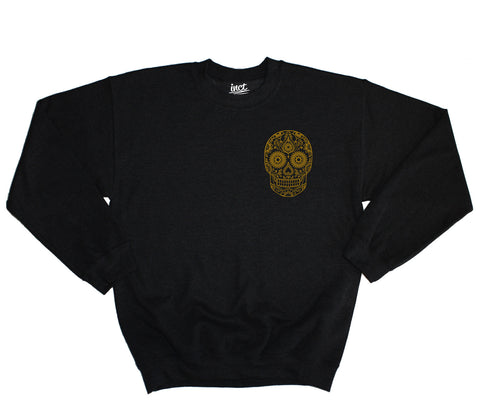 Gold Pocket Candy Skull Sweater - Inct Apparel