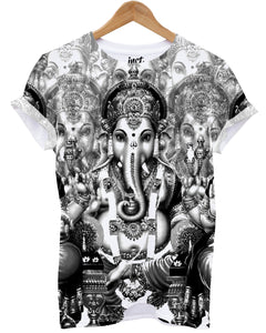 Black and White Ganesh All Over T Shirt - Inct Apparel