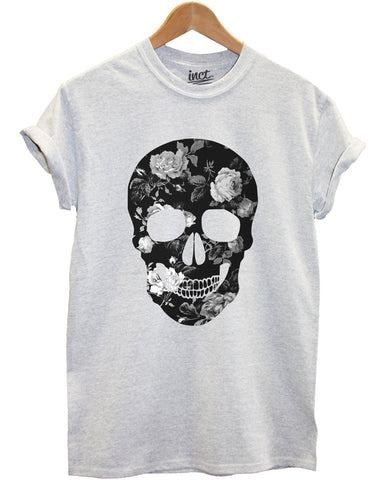 Floral skull (black and white) grey t shirt - Inct Apparel