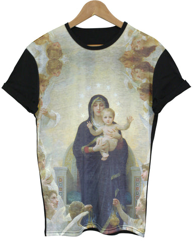 Blessed Mary & Baby Jesus Black All Over T Shirt - Inct Apparel - 1