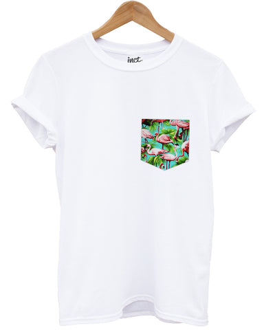 Blue flamingo print pocket white t shirt - Inct Apparel