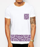 Distinkt Youth Purple Paisley Pocket Crew Neck T shirt - Inct Apparel - 2