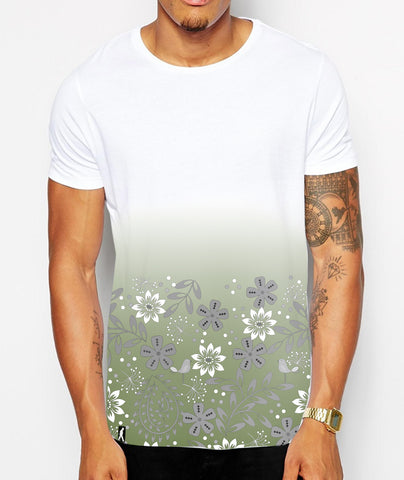 Distinkt Youth Green Floral Fade Crew Neck Tshirt - Inct Apparel