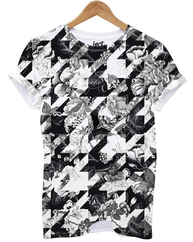Floral Dog Tooth All Over T Shirt - Inct Apparel