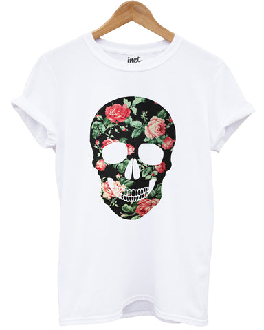 Floral skull (colour) white t shirt - Inct Apparel