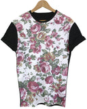 Floral Pattern Black All Over T Shirt - Inct Apparel - 1