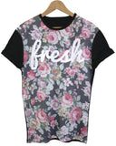 Fresh Floral Black All Over T Shirt - Inct Apparel - 1