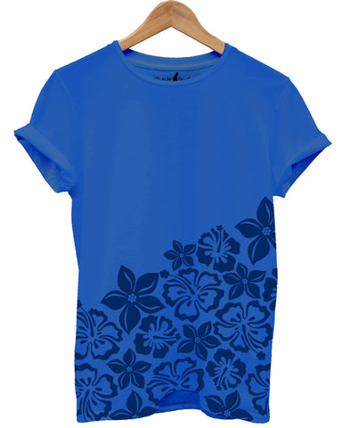 Distinkt Youth Blue Hawaii Half Print T shirt - Inct Apparel - 1