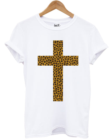 Leopard print cross white t shirt - Inct Apparel