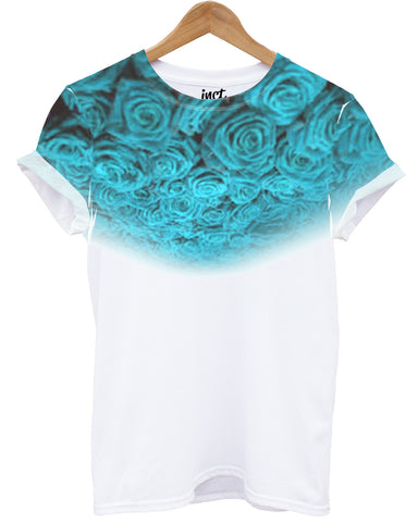 Light Blue Roses All Over T Shirt - Inct Apparel