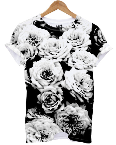 Monochrome Flower All Over T Shirt - Inct Apparel