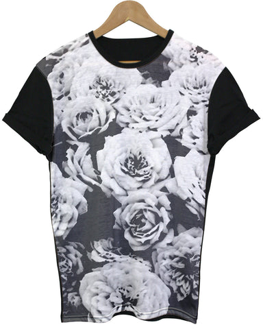 Monochrome Rose Black All Over T Shirt - Inct Apparel - 1