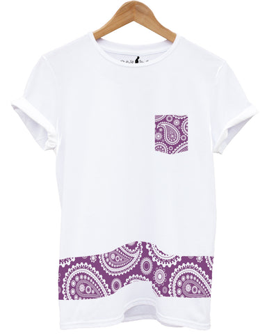 Distinkt Youth Purple Paisley Pocket Crew Neck T shirt - Inct Apparel - 1