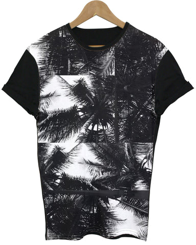 Square Palm Tree Black All Over T Shirt - Inct Apparel - 1
