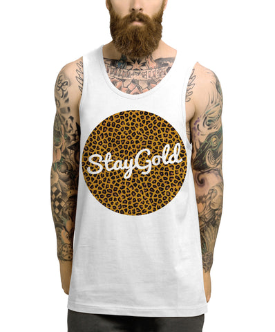 Stay gold leopard print vest - Inct Apparel