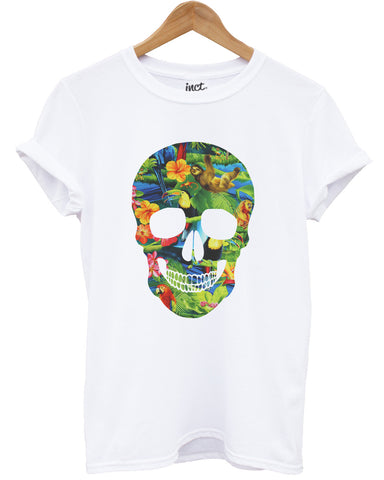 Tropical skull white t shirt - Inct Apparel