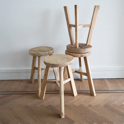 Elmwood round stool