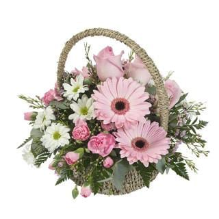 """Pinks"" Fresh Flower Basket Arrangement"