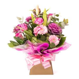 Fresh Flower Pinks and Purple in a gift box