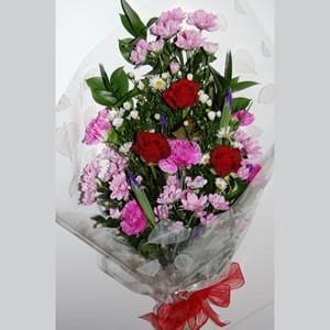 Mixed Bouquet with Three Red Roses