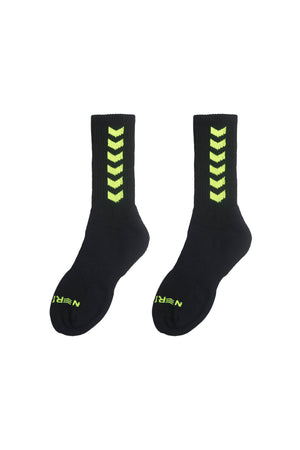 EMBLEM SOCKS | BLACK / NEON