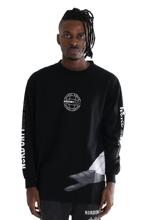 NU X STAPLE L/S  TEE  | BLACK