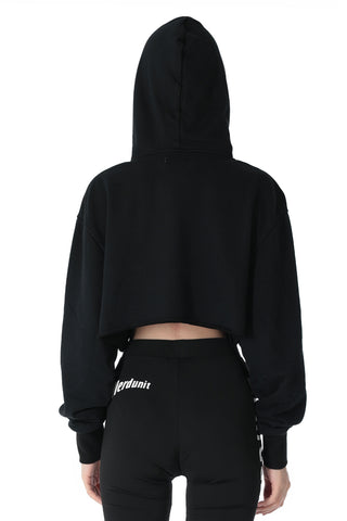 ACTIVE HOODED CROP TOP | BLACK