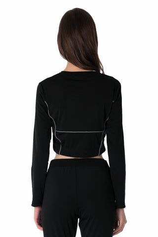 REFLECTIVE LINING LONG SLEEVES CROP TOP | BLACK