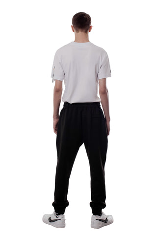 REFLECTIVE EMBLEM LINE TRACK PANTS | BLACK - SALES