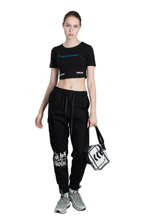 MF LOGO CROP TOP | BLACK