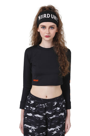WASH LABEL CROP L/S | BLACK