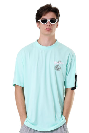 OUTLINE ROSE TEE | TIFFANY BLUE