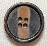 Horn Button - Round Carved Stripe