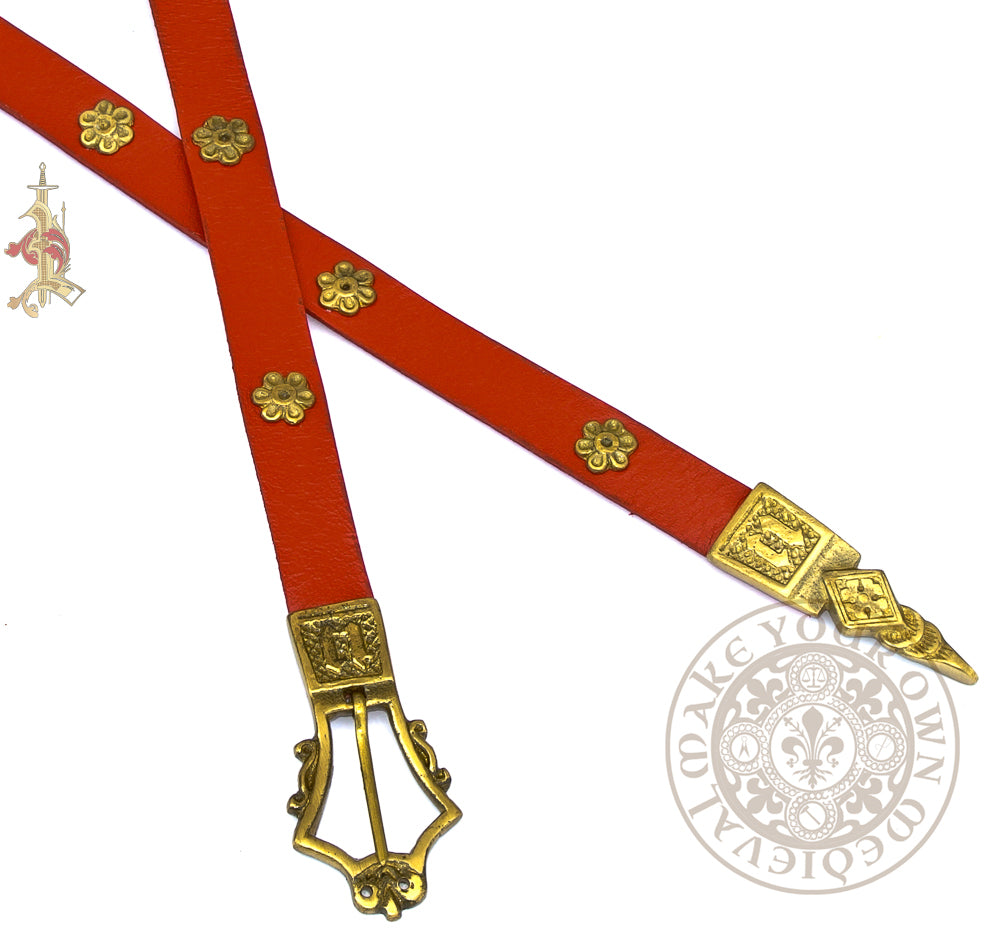 1360 -1420 Lyre Monogram Belt in Red - Veg Tan Leather