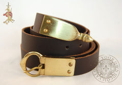 14th century Medieval belt in brown leather with brass buckle