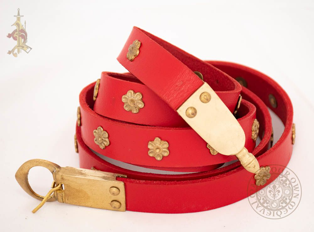 14th century Medieval reenactment belt made from red veg tan leather